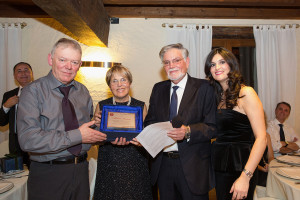 Mr Dal Santo Carlo with Francesca Dal Santo hand award plaque to the oldest employeer